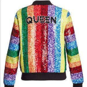Alice + Olivia Queen Rainbow Sequin Jacket